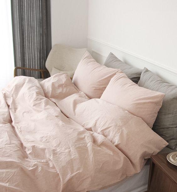 Pink Linen Modern Bedding