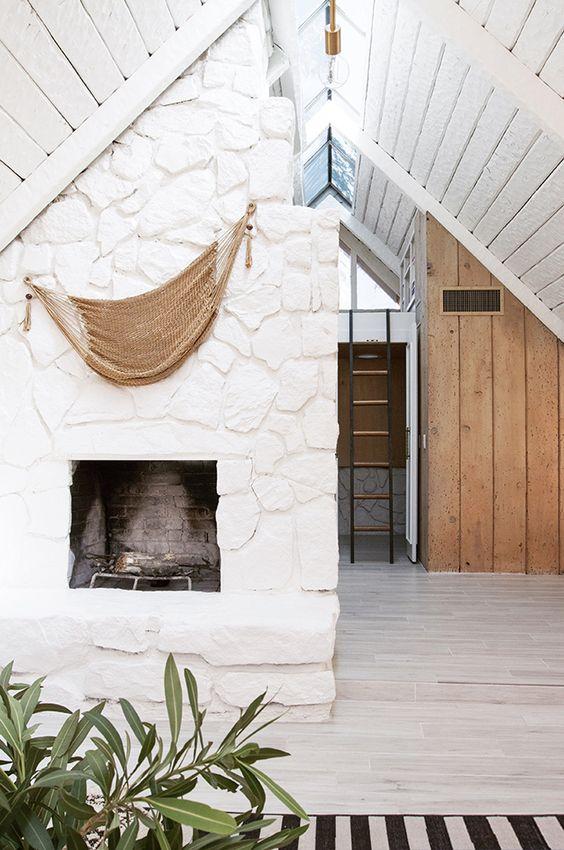 White Modern Cabin Living Room