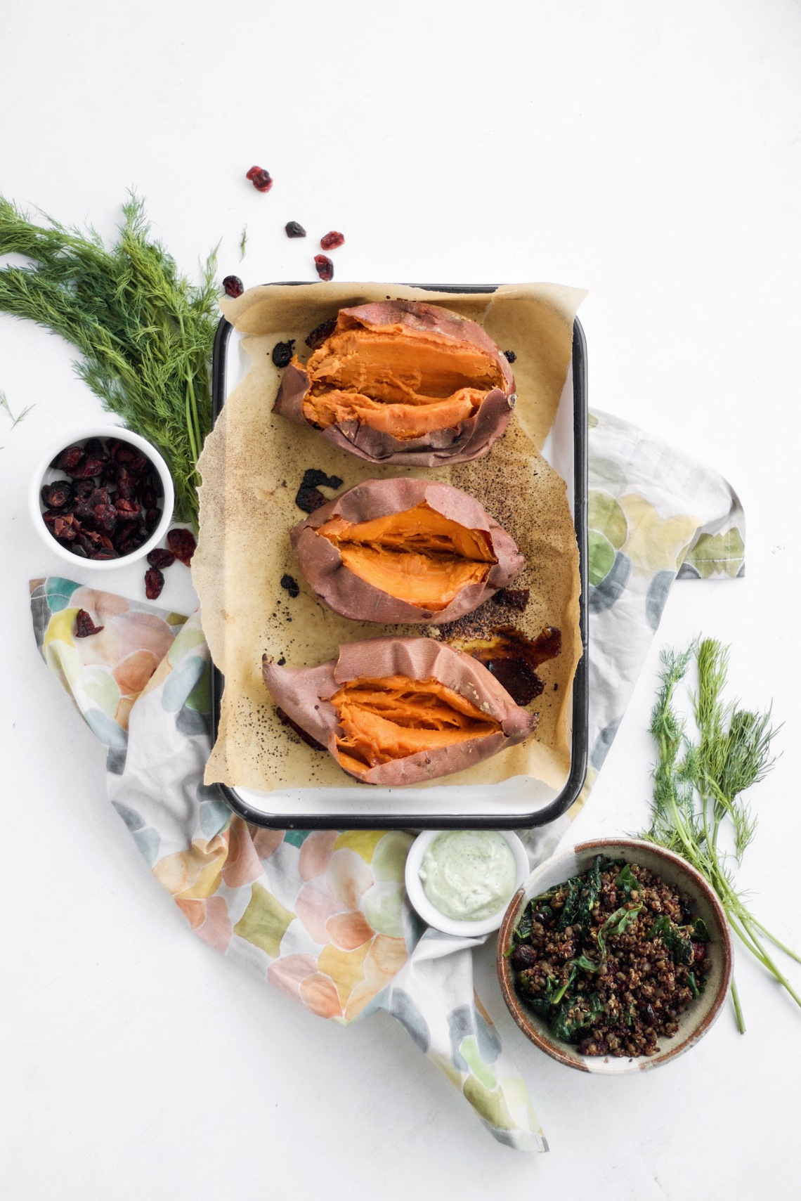 Roasted Sweet Potatoes with Lentil and Quinoa Stuffing