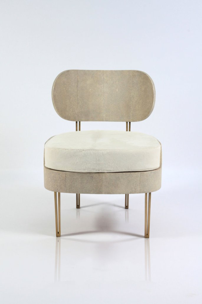 Mid Century Modern Chair with Brass Details