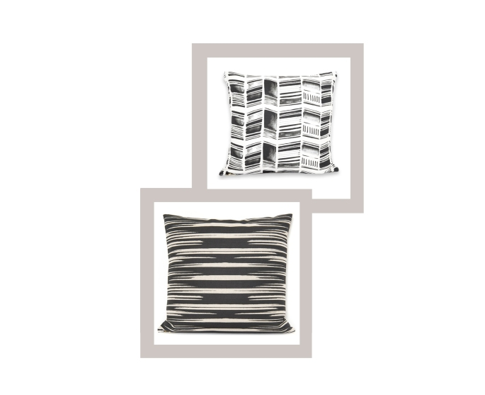 Stone Textile: Herringone Black + White 20x20 pillow, Rip Black on Oatmeal 24x24 pillow