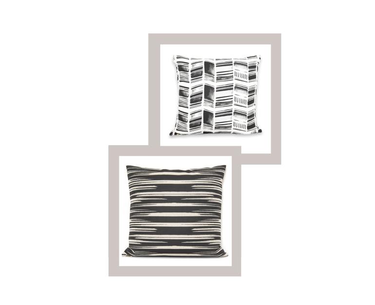 Stone Textile: Herringone Black + White 20x20 pillow, Rip Black on Oatmeal 24x24 pillow