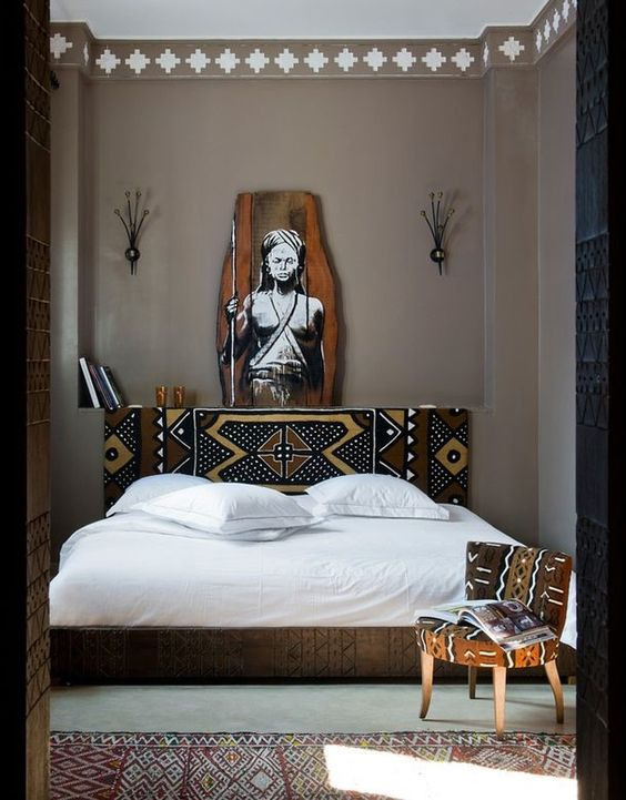 Hand-painted Tribal Headboard