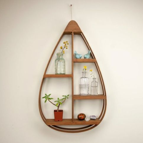 Teardrop Teak Display Shelf
