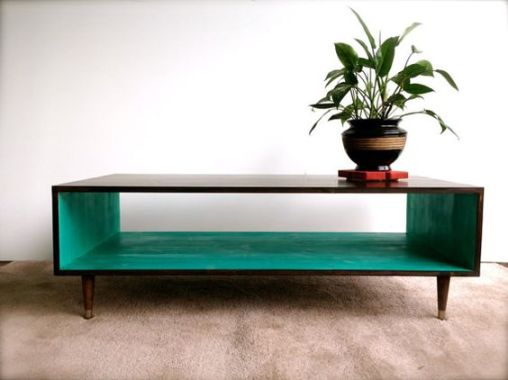 Espresso & Teal Modern Coffee Table