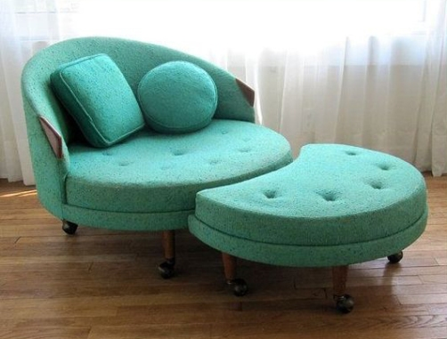 Turquoise Modern Lounge Chair with Matching Moon-shaped Ottoman