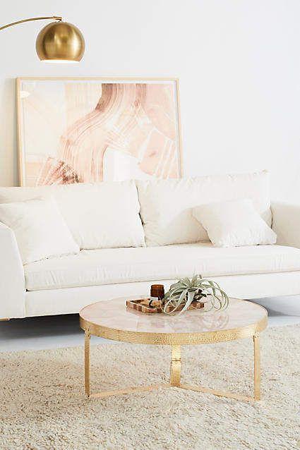 Rose Quartz + Gold Coffee Table