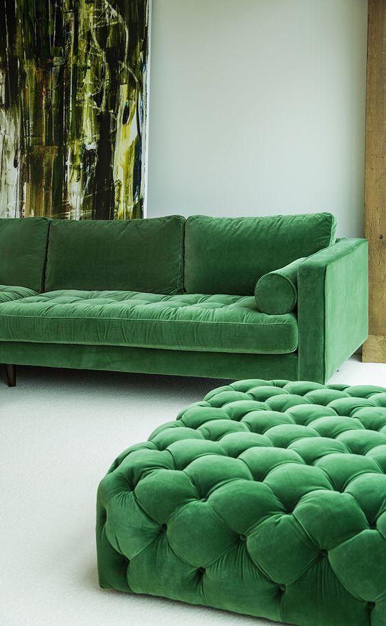 Modern Emerald + Quilted Ottoman