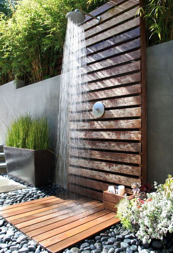 Contemporary Deck Shower