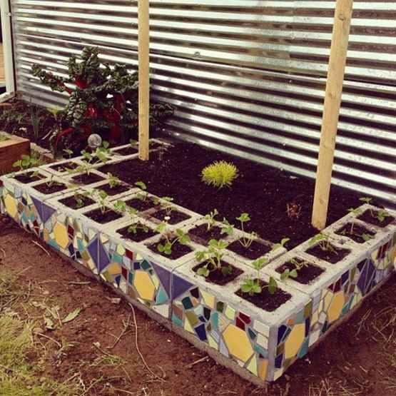 Cinder Block + Mosaic Garden Bed