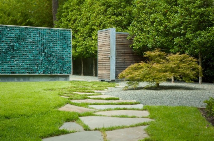 Glass Bottle Gabion Wall