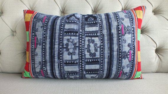 Vintage Indigo Hmong Batik Pillow