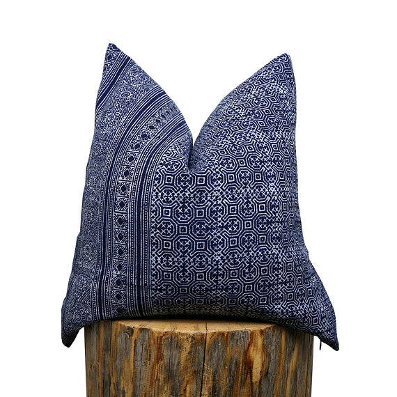 Hmong Indigo Batik Pillow