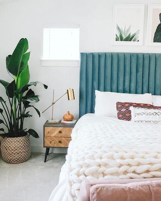 Teal, Blush, & Plants